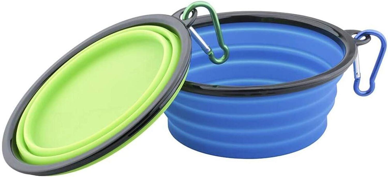 Plegable Viajes Silicona Gatos Perros Bowl Portable Pet Food Cuenco de Agua, 2x Comedero para Mascotas Bebedero para Perros Gatos, Ligero & Portátil, Bebedero Portátil de Agua Potable con mosquetó