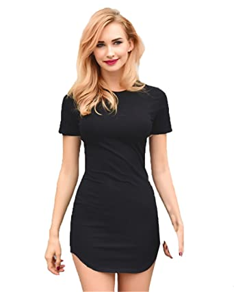 2bf93b8a55ab gagaopt Sexy Slim Cotton Bodycon Dress Black White Mini Short T Shirt Dress