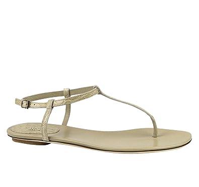 b84727327 Amazon.com: Gucci Women's Yulia Crocodile/Leather Flat Thong Sandal 339286  9604 (G 40 / US 10) Beige: Shoes