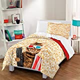 2 Piece Rockstar Movie Cat Design Comforter Set Twin Size, All Over Pop Corn Cool Kittie Remote Control 3D Glasses Bedding, Bright Geometric Stripes Pattern, Vibrant Animal Lovers Style, Yellow, Red