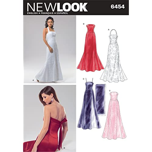 New Look 6454 Size A Misses Special Occasion Dresses Sewing Pattern, Multi-Colour