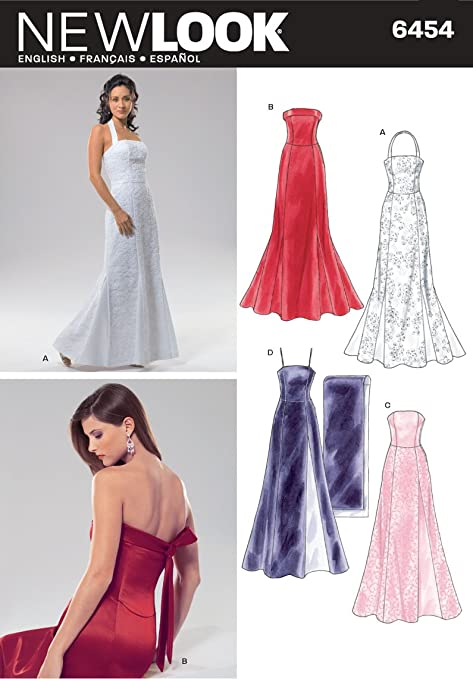 Amazon.com: New Look Sewing Pattern 6454 Misses Special Occasion Dresses, Size A (8-10-12-14-16-18): Arts, Crafts & Sewing