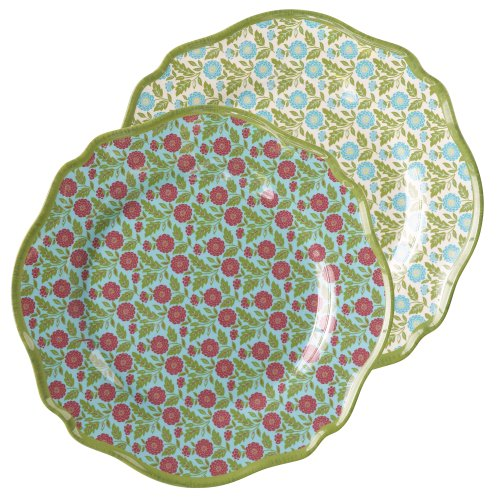 Dessert Road Plates - Grasslands Road Melamine Spring Meadow Lunch Plate Assortment, 8-1/5-Inch, Set of 6