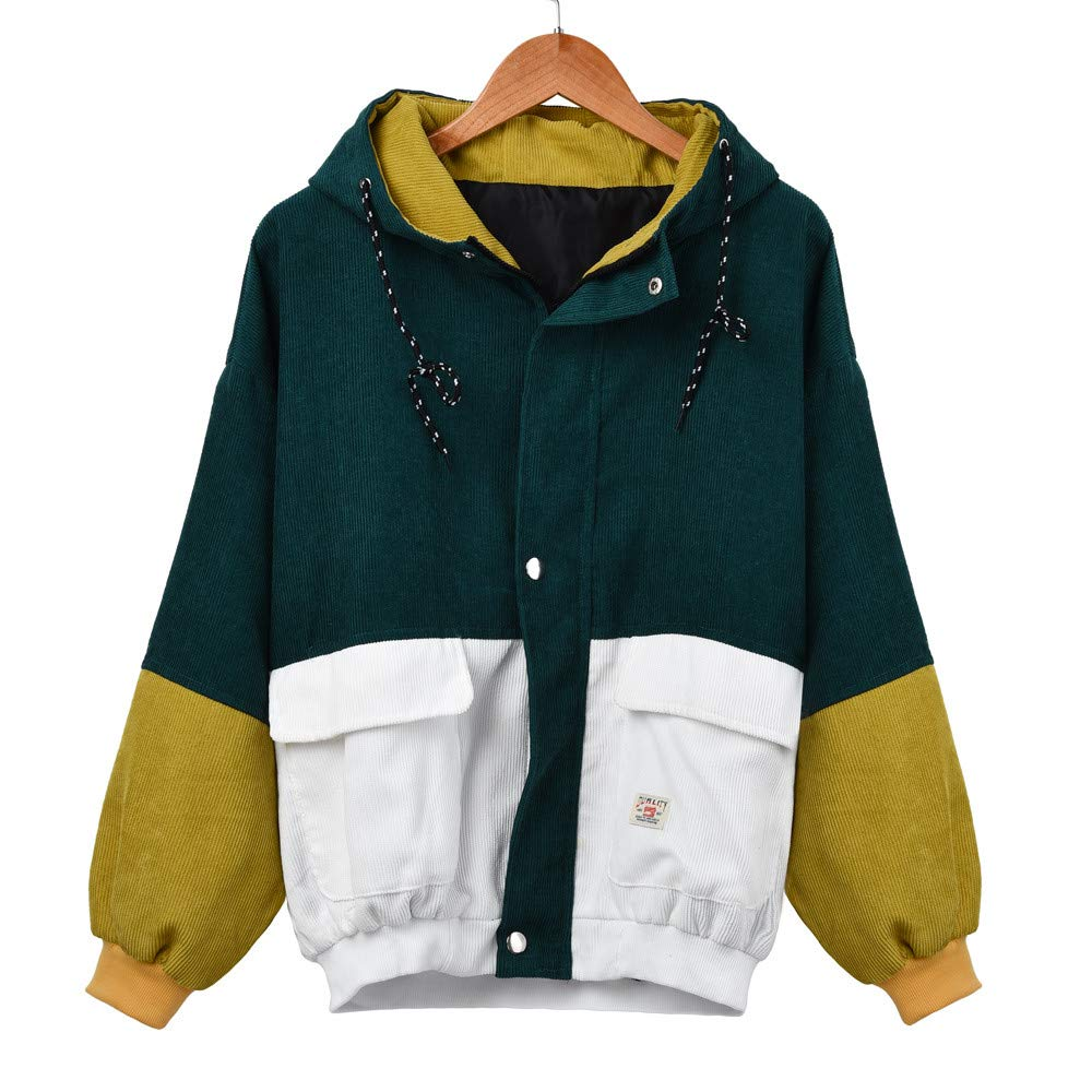 Pandaie Women Fall Winter Short Jacket Hooded Corduroy Color Block Windbreaker Coat Outdoor Jacket Oversize Green by Pandaie