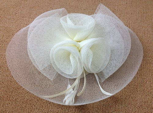 Feather Fabric Flower Fascinator Hair Clip Hat