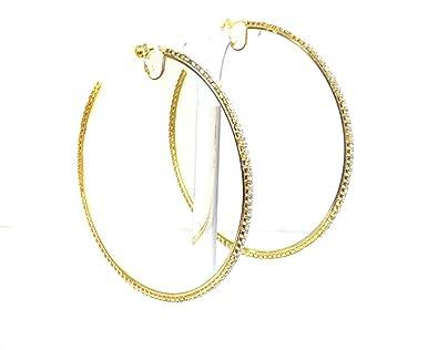 Amazon Com Clip On Earrings Gold Tone Rhinestone Hoop Earrings 4