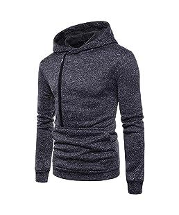 AMSKY Hoodies for Men Pullover,Fashion Men's Long Sleeve Side Zipper Hooded Sweatshirt Top Tee Outwear Blouse