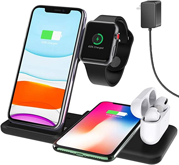 Amazon Com Hisri 4 In 1 Foldable Wireless Charger Dock Stand 15w Fast Wireless Charging Station Compatible With Iphone 11 Pro X Xs Xr Max 8 Apple Watch 5 4 3 Airpods 1 2 Pro Samsung Galaxy