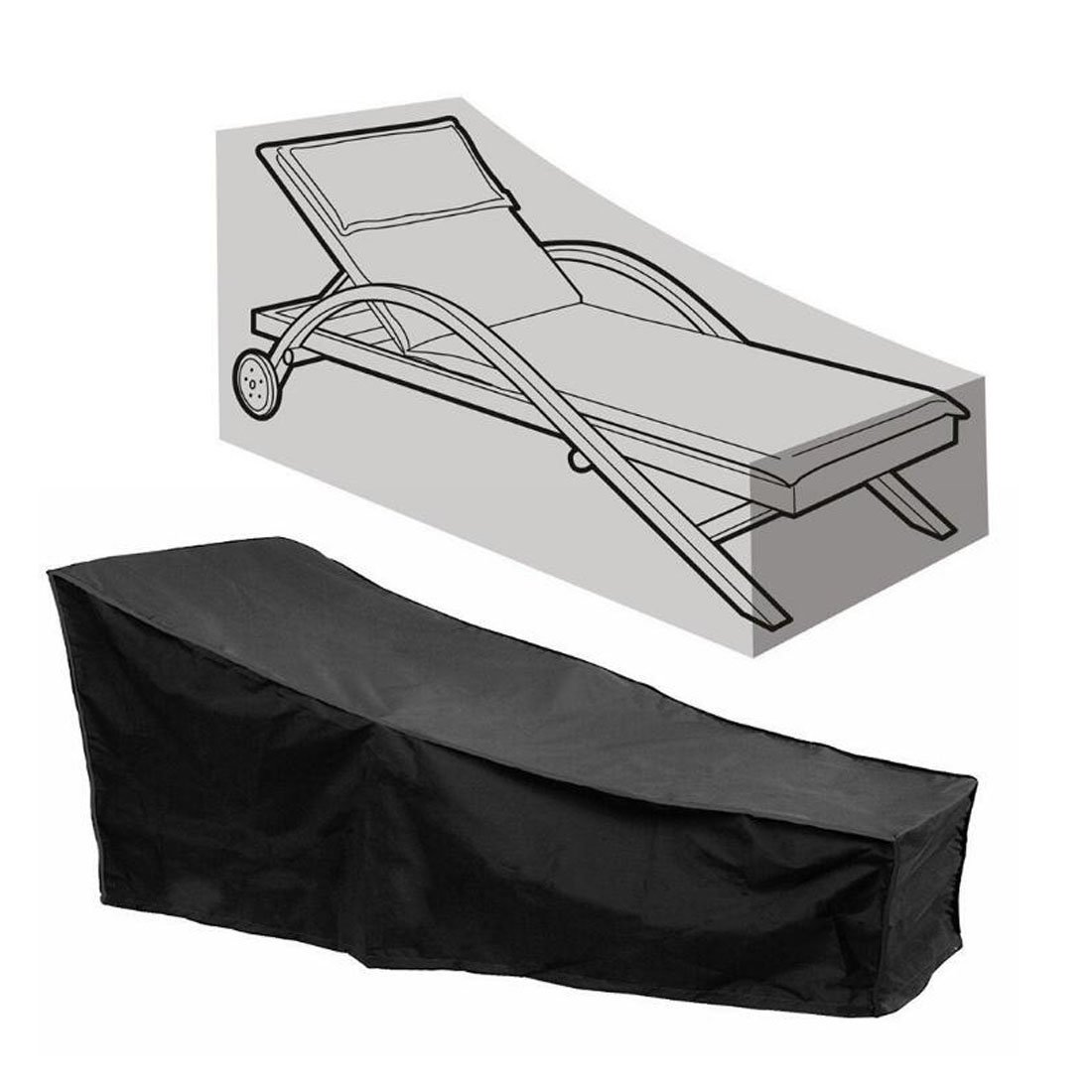 FLR Black Chaise Lounge Chair Cover Waterproof Dust-Proof Patio Chaise Covers Protection for Garden Yard Outdoor Furniture Recliner Cover by FLR
