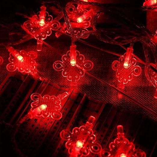 Cadena de Luces, 50 LEDs 5m bombilla Diseño de Nudo chino Decorativa Rojo cálido de