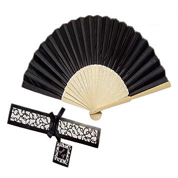 Amazon.com: 10 abanicos de mano de seda contra caja de ...