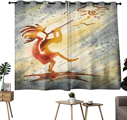 Mannwarehouse Bedroom Curtain Kokopelli Ancient Spirit Flute Player for Living, Dining, Bedroom Pair 55 Wx63 L