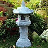 zenggp Pagoda Japanese Garden Lantern Lmitation Stone Effect Hand Carved Garden Decoration Statue,A+50cm