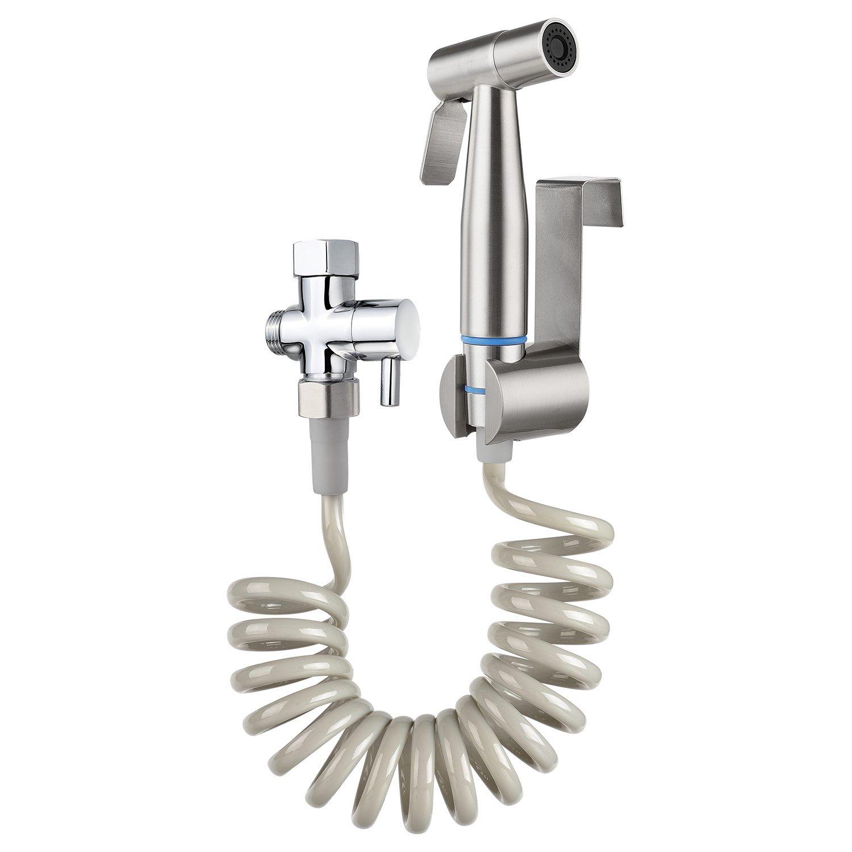 Bidet Sprayer,TURLEE Bidet Sprayer Set Incude Handhold Bidet Sprayer & Retractable Spring Hose & Brass 7/8'' T-adapter and Free mounting bracket (NO TOOL)