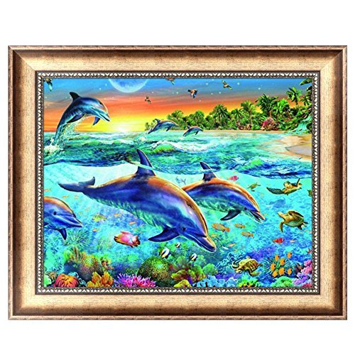 - JUA PORROR DIY 5D Full Diamond Painting Dolphins Embroidery Cross Stitch Home Decor Crafts
