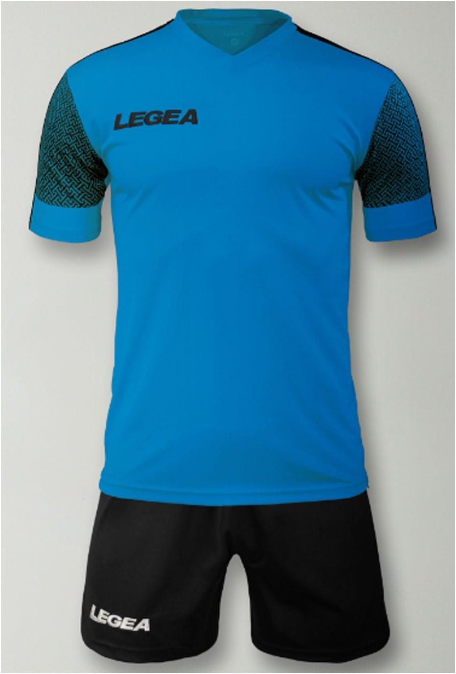 LEGEA Kit Praga Futbolín Completo Camiseta y pantalón Deportivo Torneo, Celeste Fluo-Nero, M: Amazon.es: Deportes y aire libre