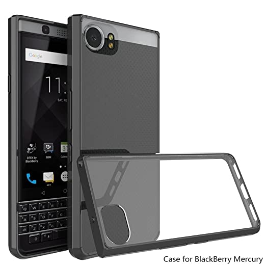 Voberry Clear Hybrid TPU Bumper Hard Back Phone Cover Case Protecor for Blackberry KEYone (Black