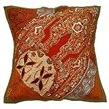 Étnico decorativo Cojín Naranja Patchwork Vintage Throw Pillow regalo de la India 16' pulgadas