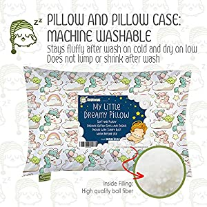 KeaBabies Toddler Pillow with Pillowcase – 13X18 Soft Organic Cotton Baby Pillows for Sleeping – Machine Washable – Toddlers, Kids, Infant – Perfect for Travel, Toddler Cot, Bed Set (Unicorn Dreams)