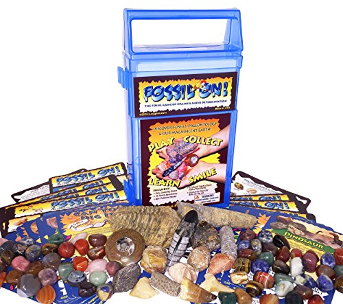 FOSSIL ON! Game with Fossil, Rock & Mineral Collection – Trilobite, Shark, Dinosaur, Amethyst, Jasper and lots more - Collect and Learn with STEM-based Educational Science Kit in Carrying Case