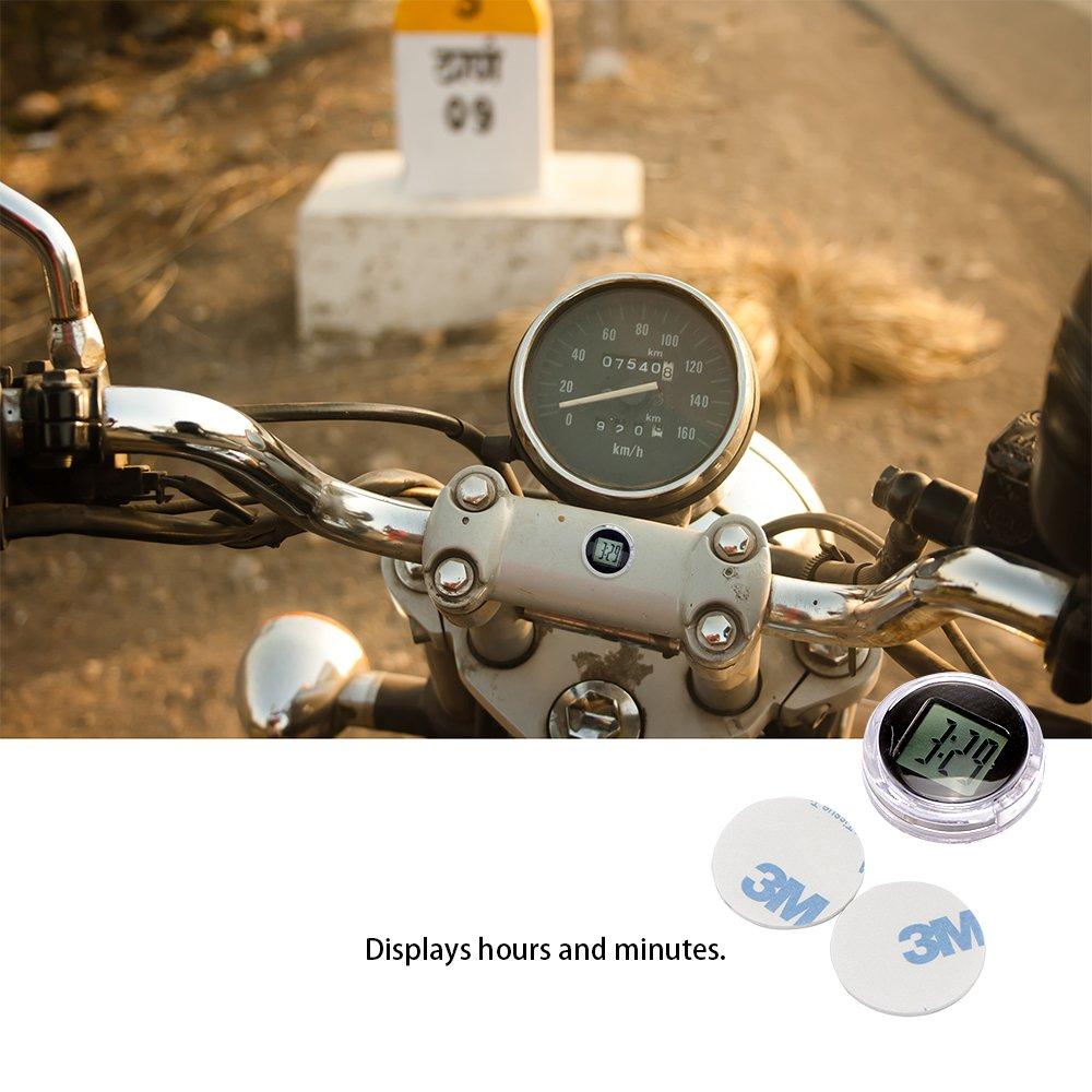 Horloge de guidon de motocyclette 2 pcs Konesky Stick-On Montre universelle de moto Horloge num/érique /étanche Yamaha Kawasaki Honda Suzuki Harley Davidson
