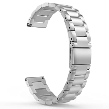 MoKo Moto 360 2 Watch Correa, Acero Inoxidable Metálica Reemplazo Smart Watch Bracelete para Garmin Vivoactive 3/Samsung Galaxy Watch 42mm/Gear S2 ...