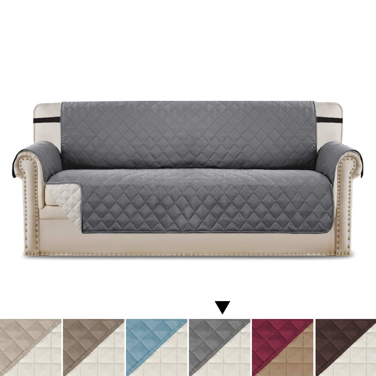 CDM product Sofa Cover Reversible Couch Slipcover Furniture Protector, 2 Inch Wide Elastic Strap, Machine Washable, Slipcover for Pets, Dogs, Kids (Sofa: Gray/Beige) big image
