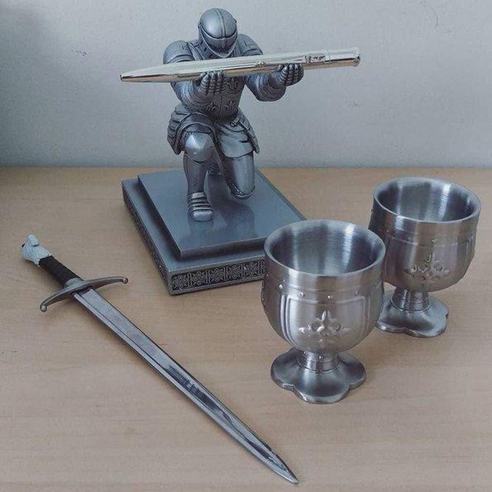 15CM Pen Holder Executive Officer Knight Pen Holder Armor Hero Resin Pen Holder Stationery Desk Office Desk Supplies Organise Bracket Silver15*10