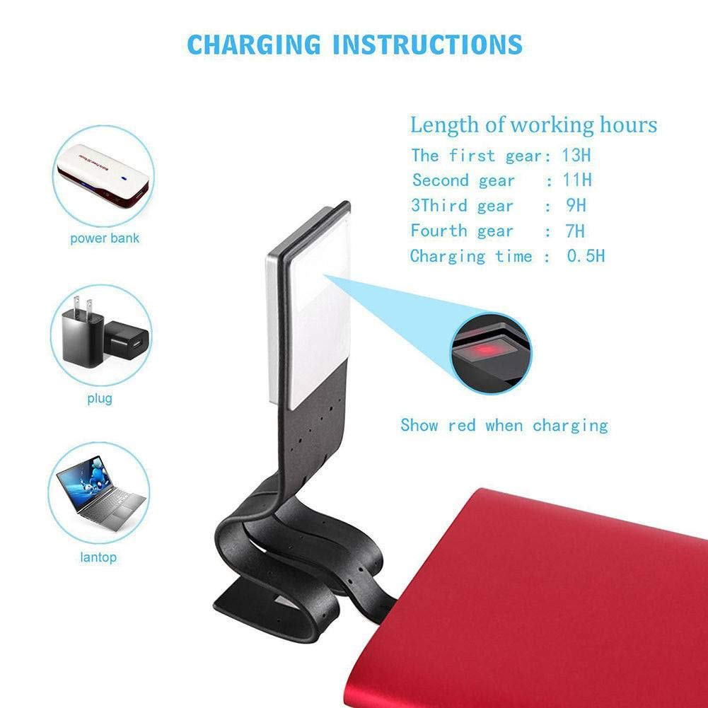 Luz LED Lectura Libro Flexible Clip Lámpara Recargable para Kindle ...