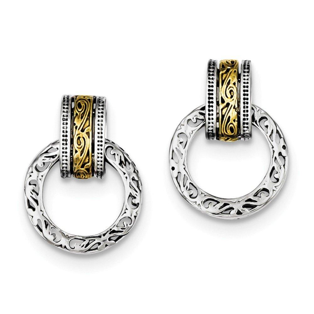 Silver Antique Finish Circle Dangle Earrings