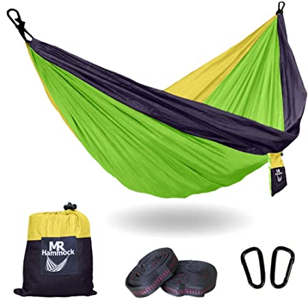 Camping Tree Hammock with Hanging Straps Large for Travel, Beach, Survival, Backyard, Hiking Outdoors Lightweight Nylon Portable and Supports Up to 400lbs – 9 Designs