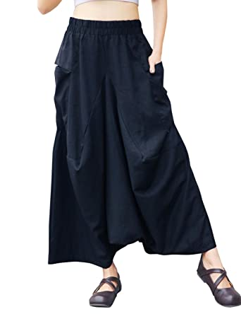 83b547ded9bc6 Modishou Women's Casual Baggy Elastic Waist Drop Crotch Harem Pants  Culottes Trousers Black