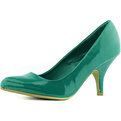 Qupid Women's Tanya-01 Green Patent PU leather Pointy Kitten Heel Pumps, 7 | Pumps