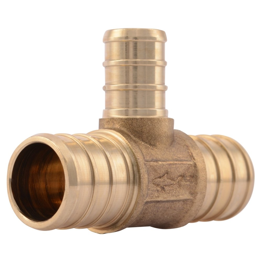 "SharkBite UC412LFA10 3/4"" x 1/2"" Reducing Tee PEX Barb Fitting (10-Pack), brass"