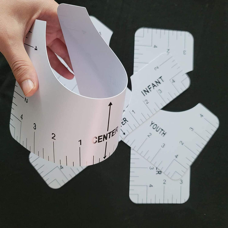 Adult Youth Toddler Infant T-Shirt Ruler Guide Set 4PCs Tshirt Vinyl Alignment Ruler Clothing Centering Design Vinyl Heat Press Tool for Making Fashion Center Design