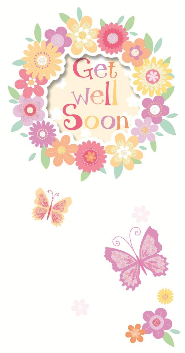 LOVELY GLITTER COATED PRETTY FLOWERS GET WELL GREETING CARD