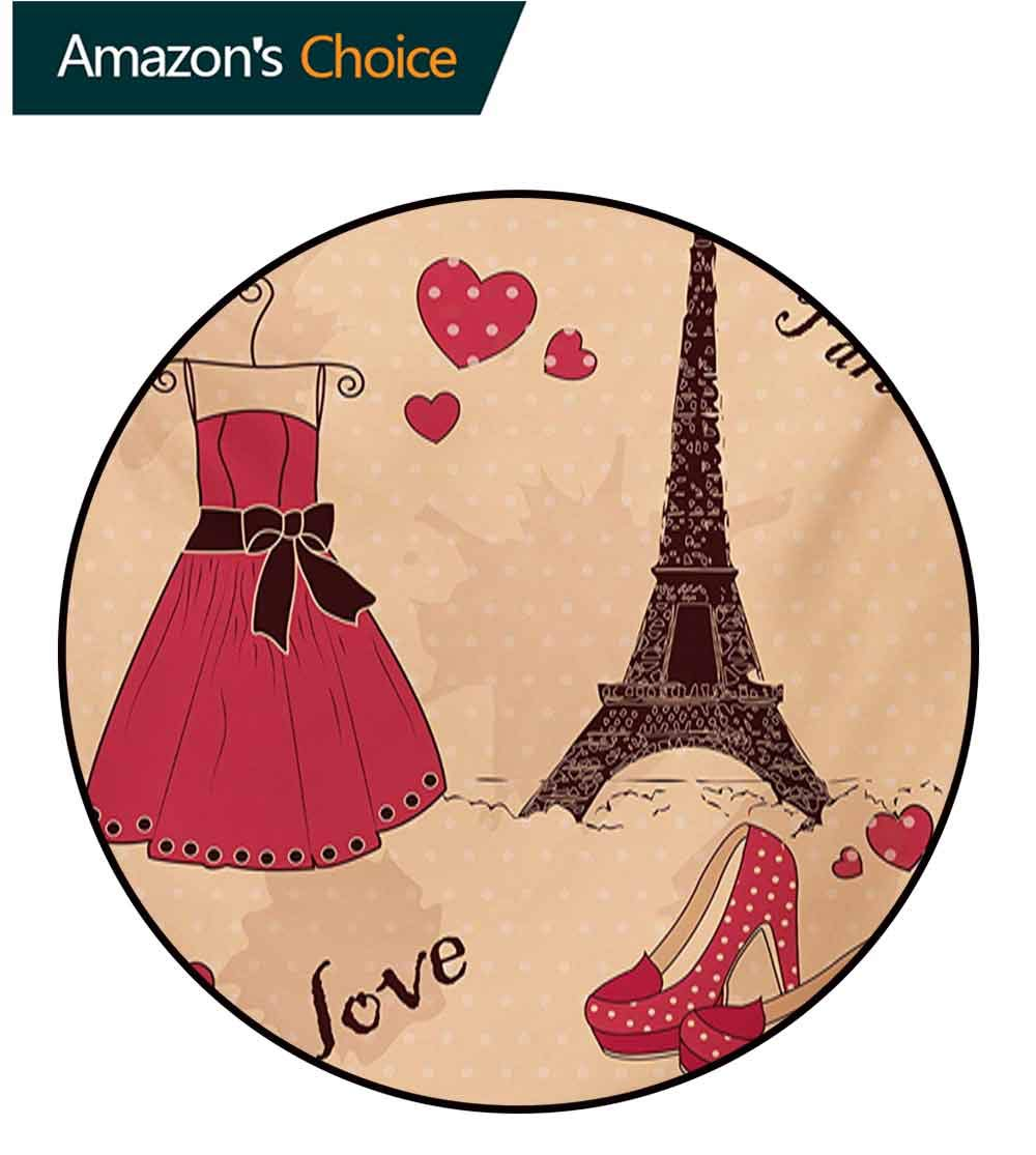 RUGSMAT Heels and Dresses Small Round Rug Carpet,Paris Boutique French Retro Dress Shoes Eiffel Tower Door Mat Indoors Bathroom Mats Non Slip,Diameter-59 Inch Dark Brown Pink Pale Salmon