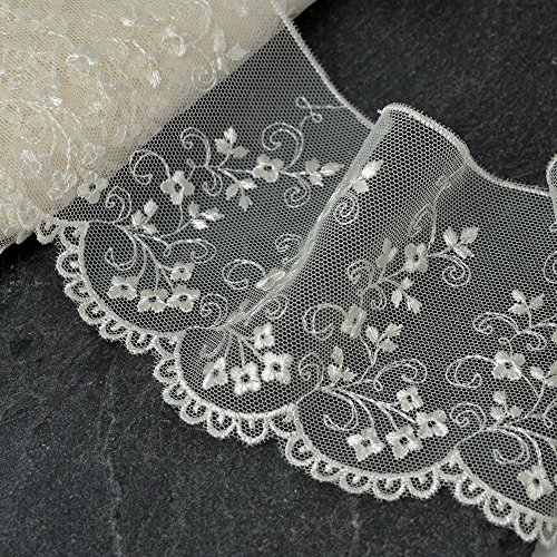 3-Yards Ivory Flower Embroidered Tulle lace Trim, 3-1/4 Inch, STEP-3801