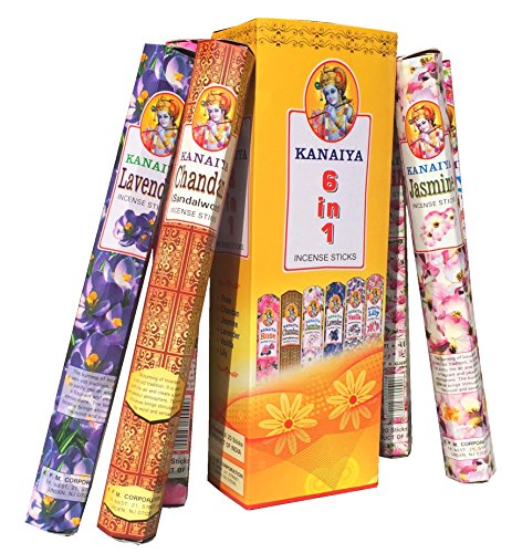 Incense Variety Pack From India - 6 Varietals - 120 Sticks - Kaniaya Brand by TikkaLife