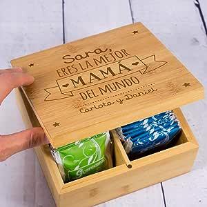 Calledelregalo Regalo Personalizado para Madres: Caja de té para la Mejor mamá grabada con su Nombre y el tuyo/vuestro: Amazon.es: Hogar