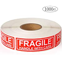 """Fragile 1""""x3"""" Handle with Care Shipping Stickers, 1000 Labels Per Roll"""