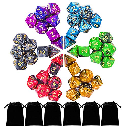 - ifergoo DND Dice, 42pcs Polyhedral Game Dice with 6 Punches for Role Playing Game Dungeons and Dragons D&D Pathfinder Shadowrun and Math Teaching (42pcs DND Dice)