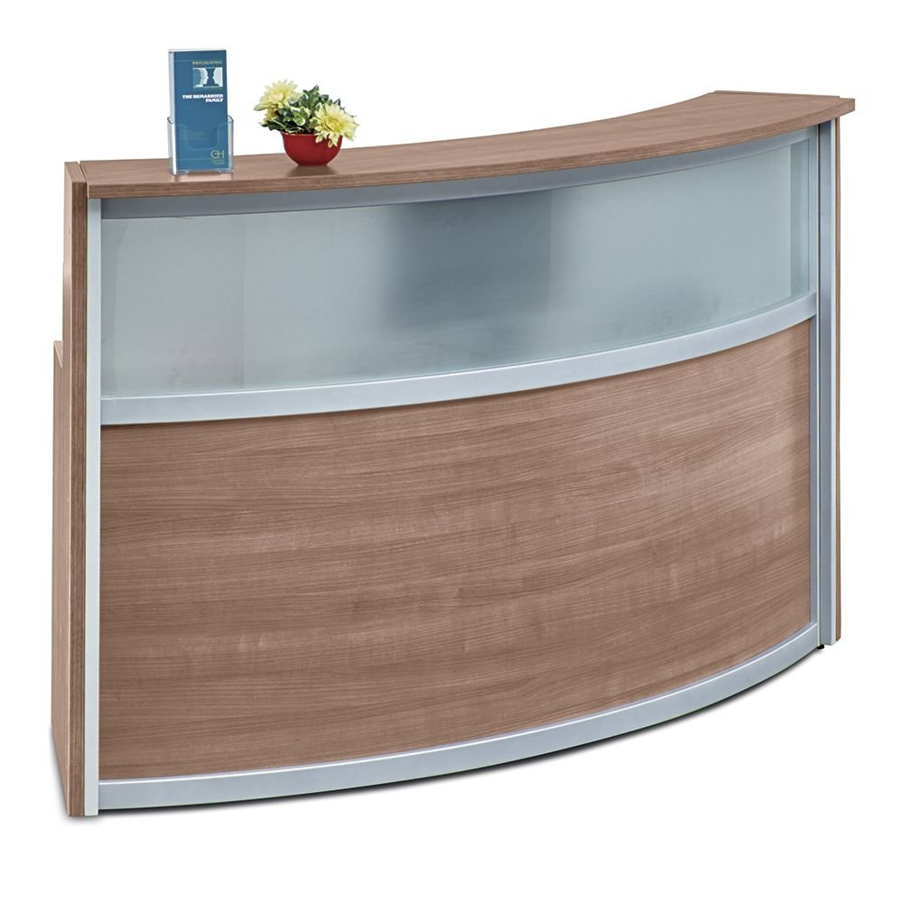 Laminate Curved Reception Desk with Glass Panel - 72''W x 30''D Stone Walnut Laminate/Silver Trim Dimensions: 72''W x 31''D x 45''H Weight: 187 lbs.Line Drawing