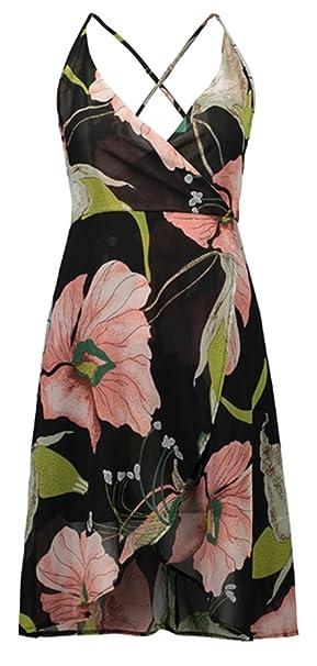 5d49d5e63f Sleeveless Deep V Neck Cross Wrap Front Irregular Hem High Low Hem Chiffon  Midi A-Line Dress at Amazon Women s Clothing store