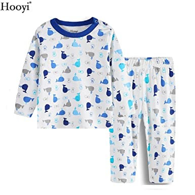 Hooyi Blue Whale Baby Sleepwear Clothes Suit At Home 100% Cotton Pijamas (70(