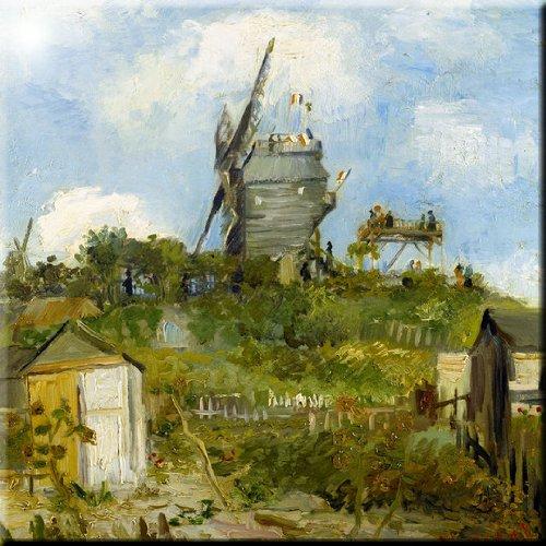 8 x 8 Rikki Knight Van Gogh Art Blut fin Windmill Design Ceramic Art Tile