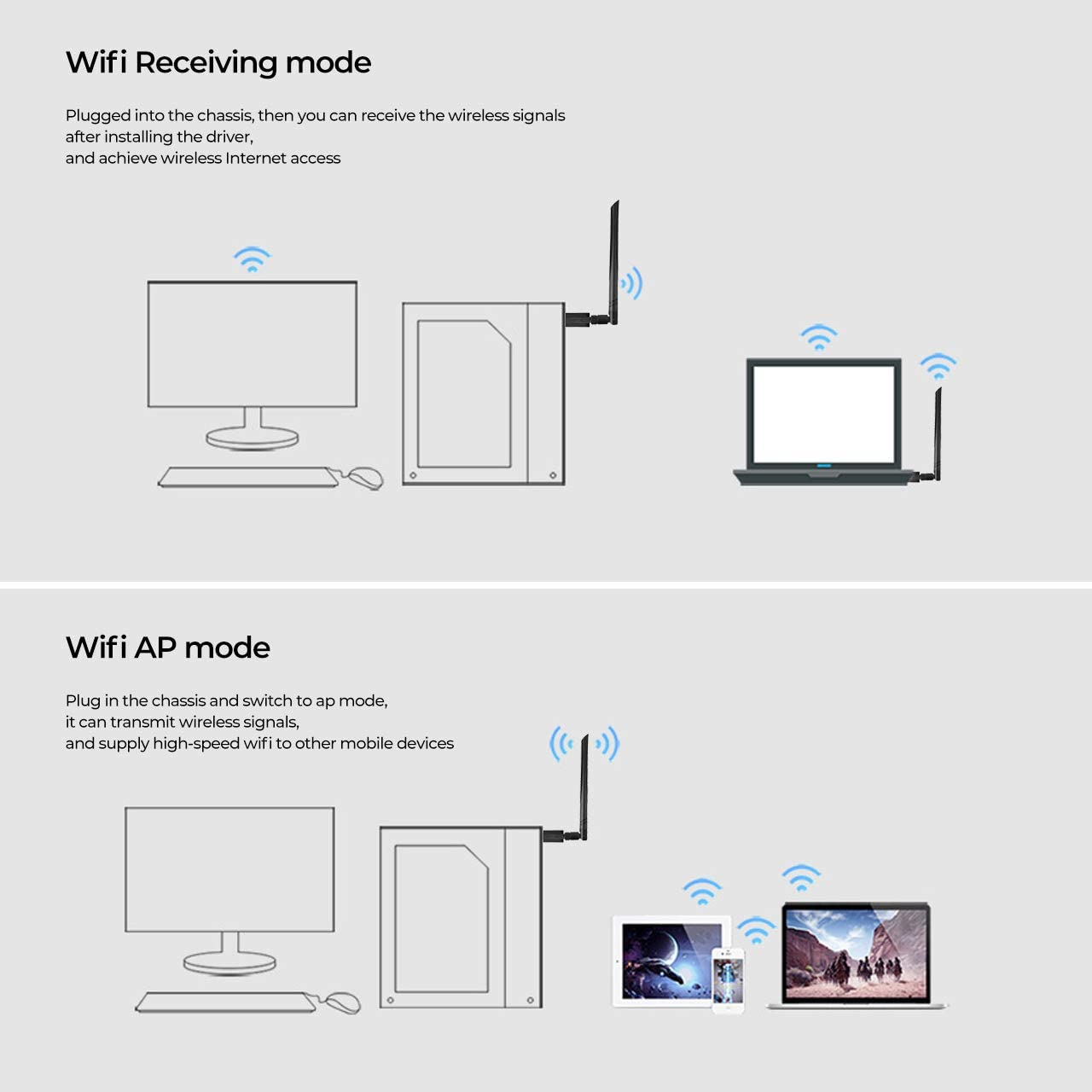 USB WiFi Adapter for PC 1200Mbps Dual Band 2.4GHz//300Mbps 5.8GHz//867Mbps High Gain 5dBi Antennas USB 3.0 Wireless Network Adapter for Desktop Laptop with Windows 10//8//8.1//7//Vista//XP//Mac 10.6-10.14