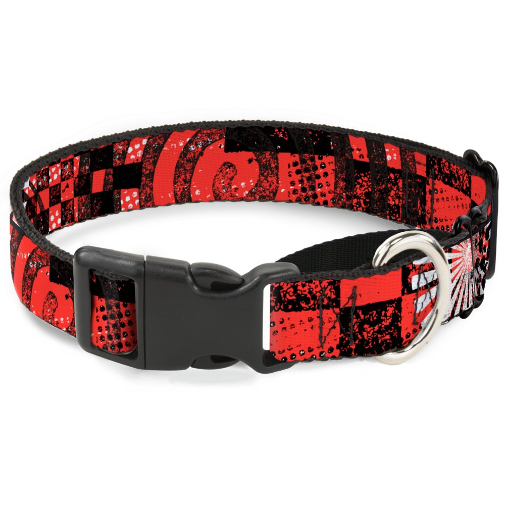 Buckle-Down Grunge Chaos Red Martingale Dog Collar, 1  Wide-Fits 15-26  Neck-Large