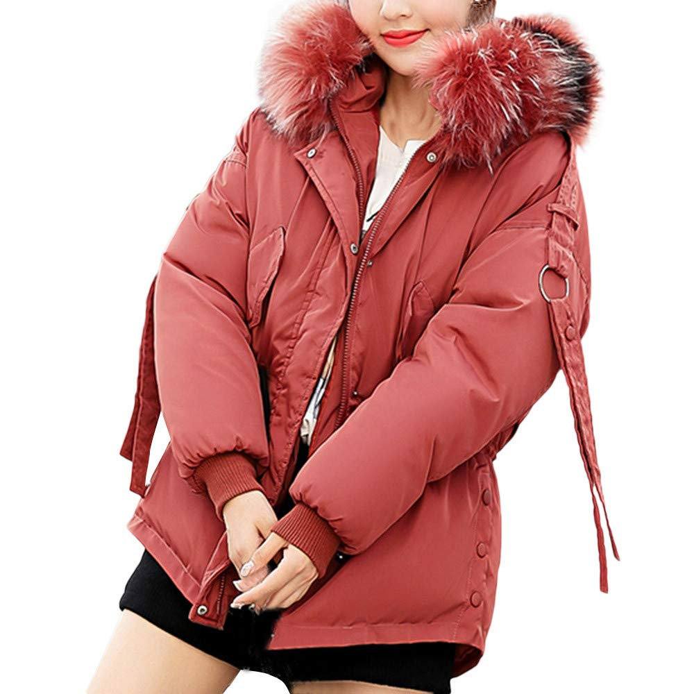 Limsea 2018 Women Winter Warm Fur Collar Hooded Coat Thick Cotton-Padded Jacket Limsea0925WM