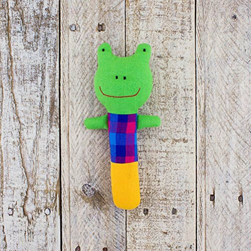 (Mr. Ellie Pooh Fabric Stuffed Frog RATTLE ~ Hand Made in Sri Lanka by Local Artisans ~ Safe to)